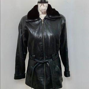 Wilson's 100% leather black 3/4 length coat -xs